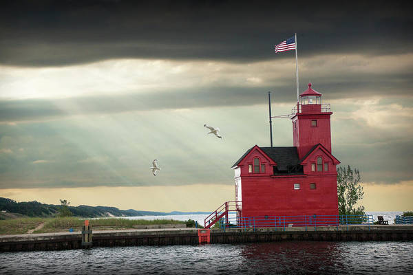 Photograph - The Big Red Lighthouse With Sunbeams On Lake Michigan By Ottawa  by Randall Nyhof