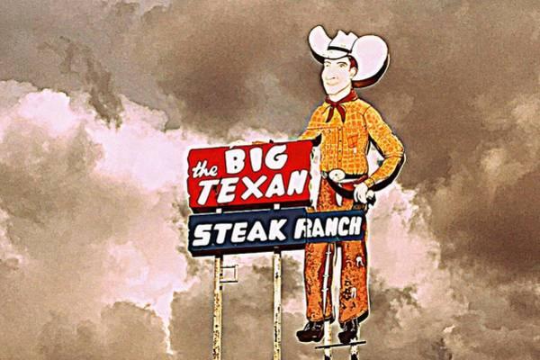 Amarillo Digital Art - The Big Texan Steak Ranch, Route 66 by Matt Richardson