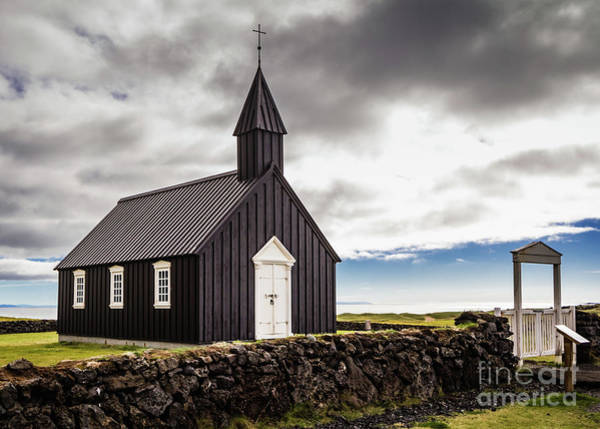 Photograph - The Black Church Of Budir, Iceland by Lyl Dil Creations
