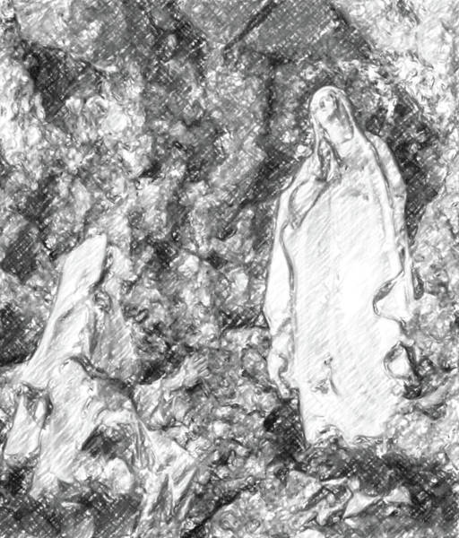 Soubirous Photograph - the Blessed Virgin Mary in the grotto at Lourdes by Gone With The Wind