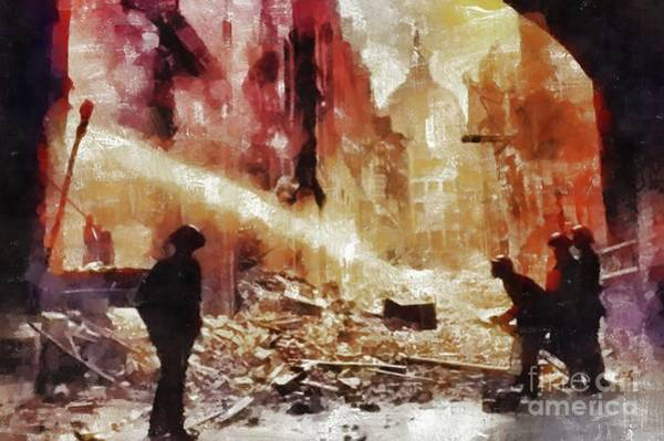 Wall Art - Painting - The Blitz, Wwii by Mary Bassett