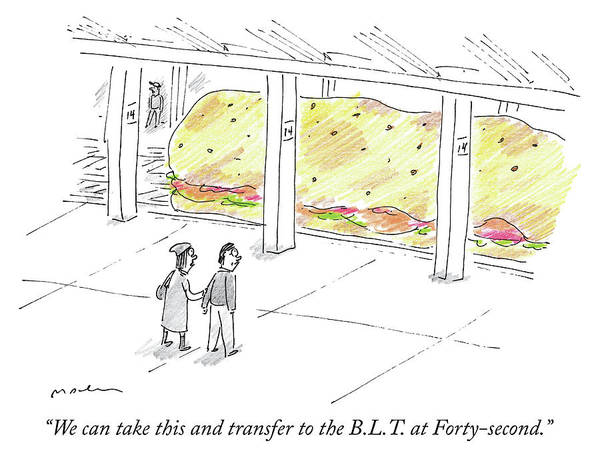 Sandwiches Drawing - The Blt At Forty Second by Michael Maslin