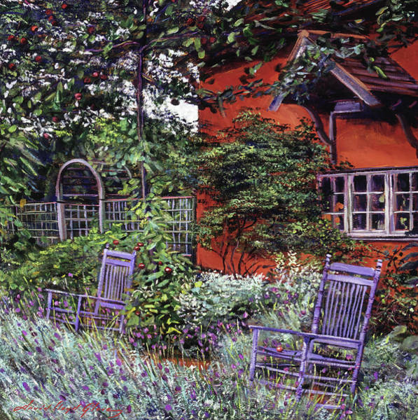 Painting - The Blue Garden Chairs by David Lloyd Glover