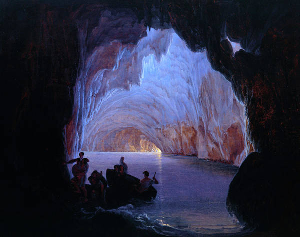 Potholes Wall Art - Painting - The Blue Grotto Of Capri, 1835 by Heinrich Jakob Fried