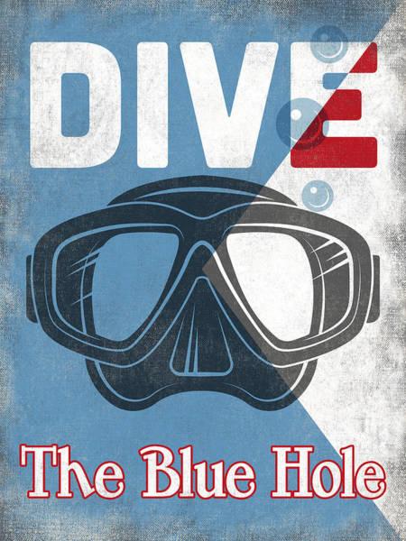 Belize Digital Art - The Blue Hole Vintage Scuba Diving Mask by Flo Karp