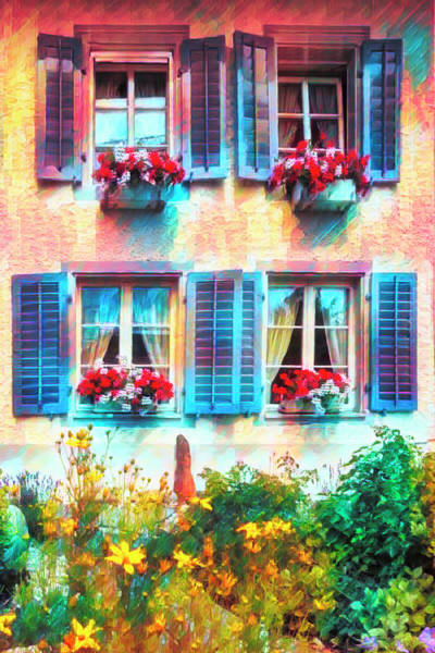 Photograph - The Blue Shutters Watercolors Painting by Debra and Dave Vanderlaan