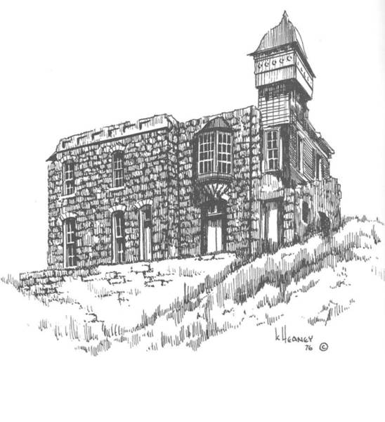 Drawing - The Blue Stone House Helena Montana by Kevin Heaney