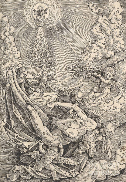 Christian Drawing - The Body Of Christ Carried By Angels Towards Heaven, 1516  by Hans Baldung Grien