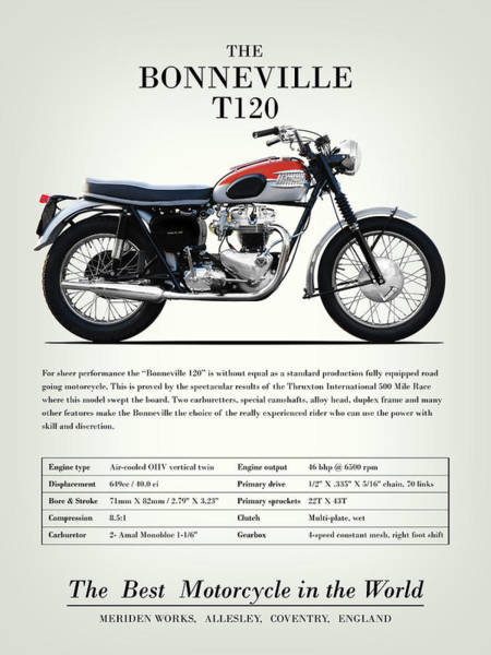 Wall Art - Photograph - The Bonneville T120 Vintage Advert 1962 by Mark Rogan