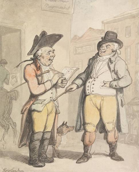 Drawing - The Bookmaker And His Client Outside The Ram Inn, Newmarket by Thomas Rowlandson