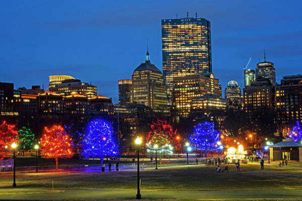 Photograph - The Boston Common Lit Up For Christmas New Year's Eve by Toby McGuire