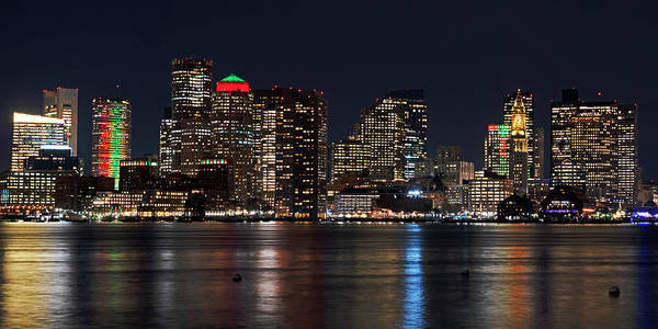 Photograph - The Boston Skyline Lit Up For Christmas Boston Ma East Boston Panorama by Toby McGuire