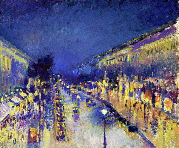 Music City Painting - The Boulevard Montmartre At Night - Digital Remastered Edition by Camille Pissarro