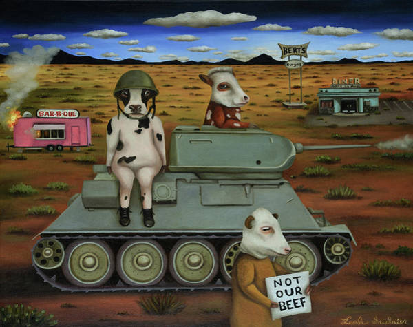 Painting - The Bovine Burger War by Leah Saulnier The Painting Maniac
