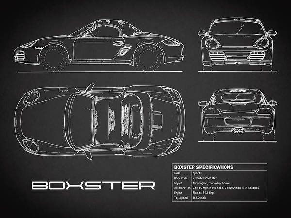 Wall Art - Photograph - The Boxster Blueprint - Black by Mark Rogan