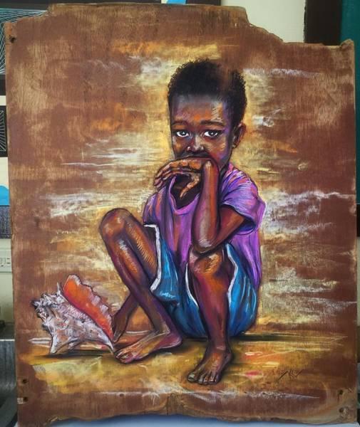 Pastel - The Boy With The Shell 2 by Katerina Kovatcheva