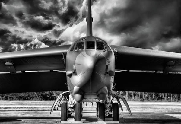 Nuclear Bomber Wall Art - Photograph - The Brewing Storm In Black And White by JC Findley
