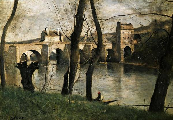 Wall Art - Painting - The Bridge At Mantes - 1868- 38,5x55,5 Cm - Oil On Canvas. by Jean Baptiste Camille Corot -1796-1875-