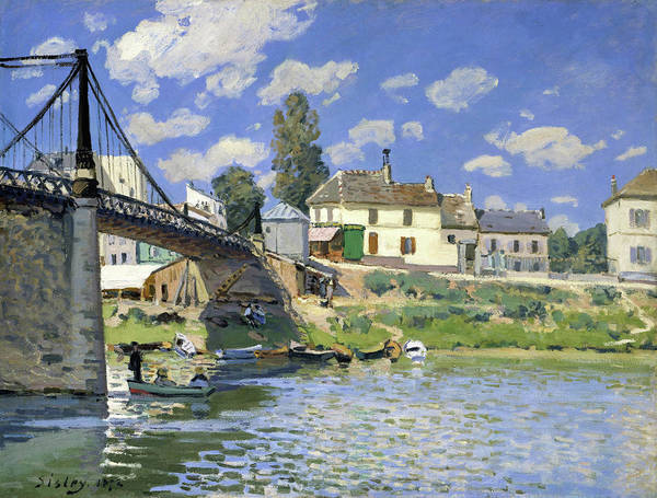 Riverbed Painting - The Bridge At Villeneuve-la-garenne - Digital Remastered Edition by Alfred Sisley