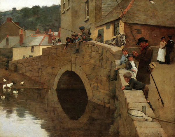 Newlyn Painting - The Bridge by Stanhope Alexander Forbes