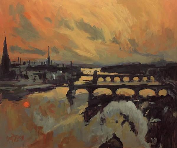 Painting - The Bridges Of Maastricht by Nop Briex