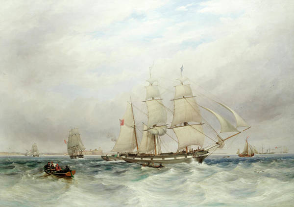 Wall Art - Painting - The Brigantine Mary Off Tynemouth, With A Paddle Tug And Other Shipping by Thomas Harrison Hair
