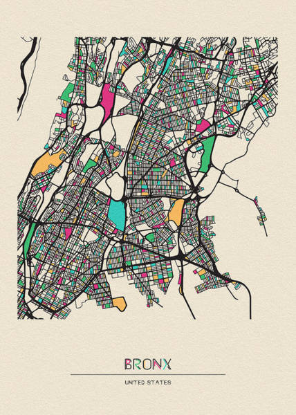 Wall Art - Drawing - The Bronx, United States City Map by Inspirowl Design