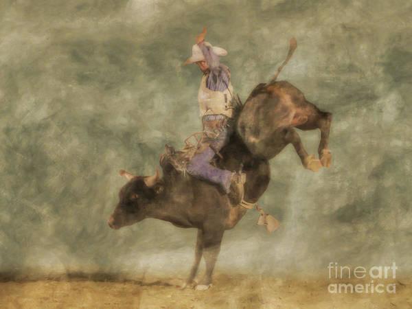 Bucking Bronco Digital Art - The Bull Rider by Randy Steele