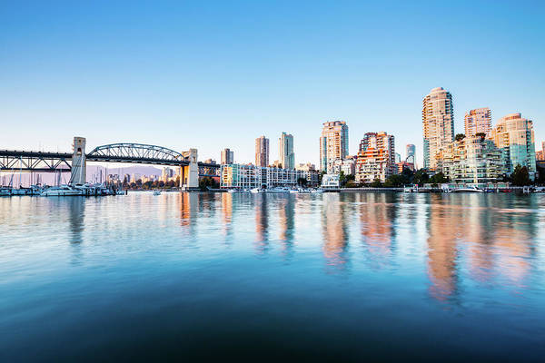 False Creek Wall Art - Photograph - The Burrard Bridge In Granville Island by Wan Ru Chen