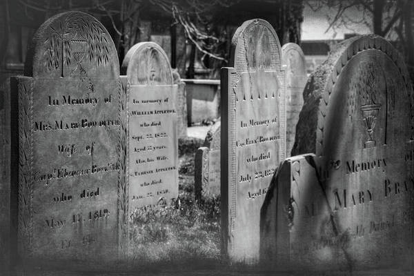 Wall Art - Photograph - The Burying Point Salem Massachusetts Black And White  by Carol Japp