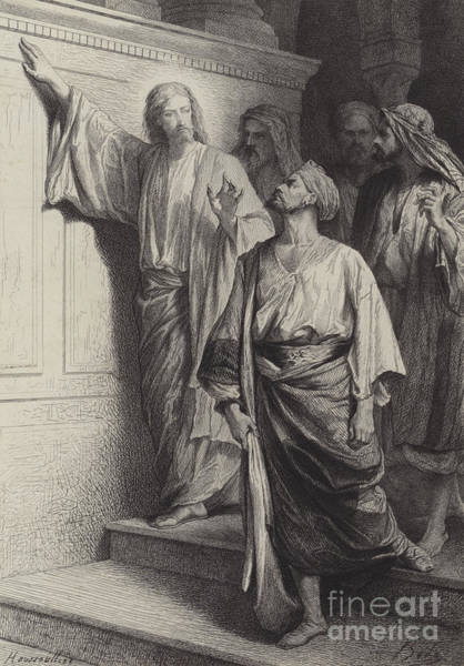 Wall Art - Drawing - The Calling Of St Matthew by Albert Robida