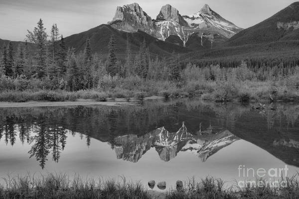 Photograph - The Canmore Glowing Sisters Black And White by Adam Jewell