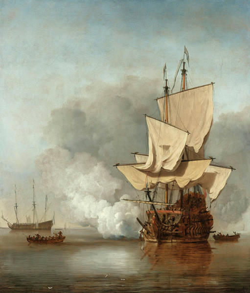 Wall Art - Painting - The Cannon Shot, 1680 by Willem van de Velde