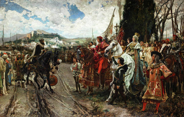 Wall Art - Painting - The Capitulation Of Granada, 1882 Showing Muhammad Xii Confronting Ferdinand And Isabella, 1882 by Francisco Pradilla Ortiz