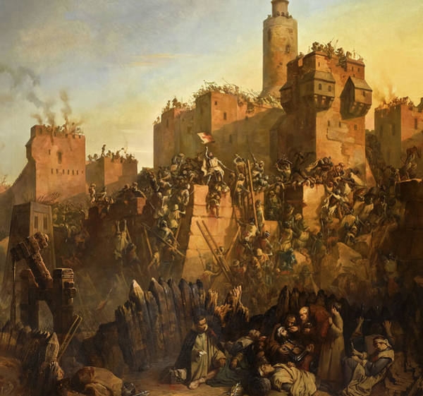 Wall Art - Painting - The Capture Of Jerusalem By Jacques De Molay by Claudius Jacquand