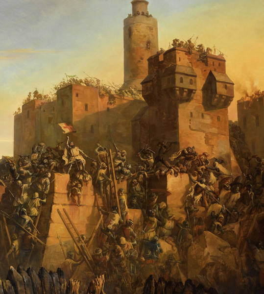 Wall Art - Painting - The Capture Of Jerusalem By Jacques De Molay, Crusade, 1299 by Claudius Jacquand