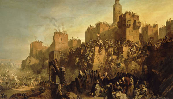 Wall Art - Painting - The Capture Of Jerusalem By Jacques De Molay, Crusade by Claudius Jacquand
