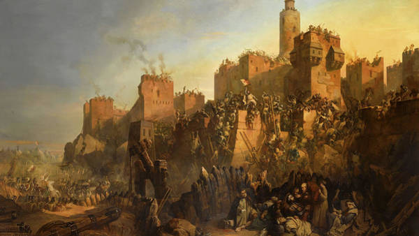 Wall Art - Painting - The Capture Of Jerusalem By Jacques De Molay In 1299 by Claudius Jacquand