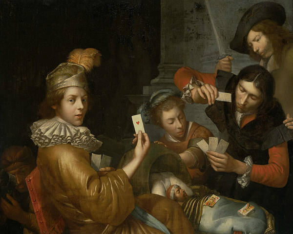 Painting - The Card Game On The Cradle - Allegory by Johannes van Wijckersloot