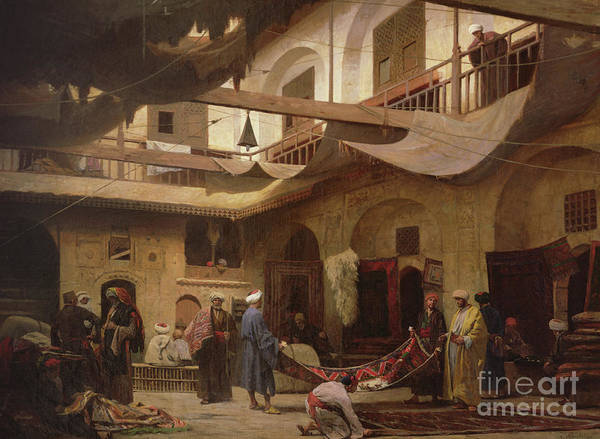Wall Art - Painting - The Carpet Bazaar, Cairo, Before 1866  by Louis Claude Mouchot