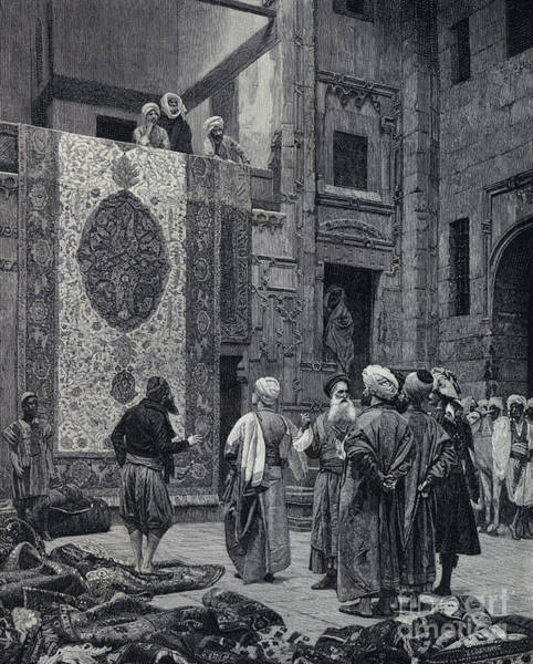 Wall Art - Drawing - The Carpet Merchant, Litho by Jean Leon Gerome