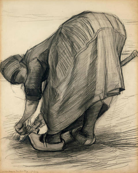 Wall Art - Drawing - The Carrot Puller by Vincent van Gogh