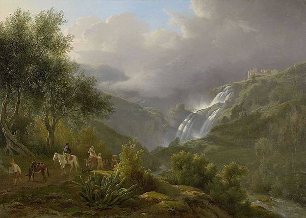Wall Art - Painting - The Cascades At Tivoli, With A Storm Approaching  By Abraham Teerlink by Abraham Teerlink