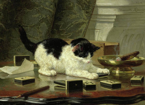 Kitten Play Wall Art - Painting - The Cat At Play by Henriette Ronner-Knip