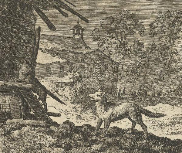 Relief - The Cat Climbs A Barn From Hendrick Van Alcmar's Renard The Fox by Allaert van Everdingen