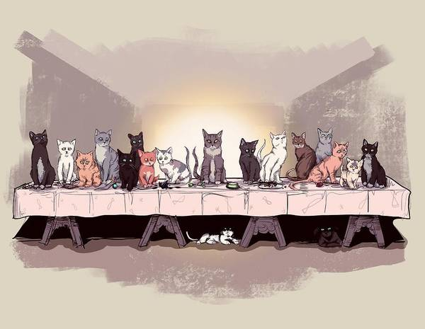 Wall Art - Photograph - The Cat Supper by Ludwig Van Bacon