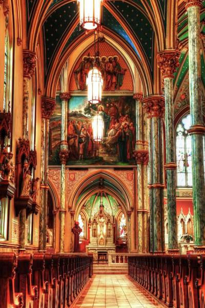 Photograph - The Cathedral Of St. John The Baptist Aisle  by Carol Montoya
