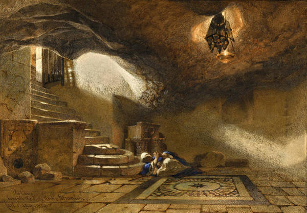 Drawing - The Cave Beneath The Holy Rock by Carl Haag