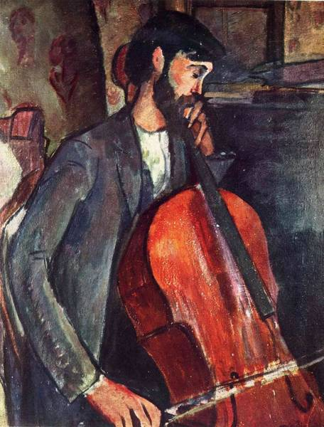 Wall Art - Painting - The Cellist - 1909  - Painting - Oil On Canvas by Modigliani Amedeo