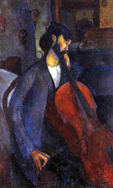 Cellist Painting - The Cellist - 1909 - Private Collection - Painting - Oil On Canvas by Modigliani Amedeo